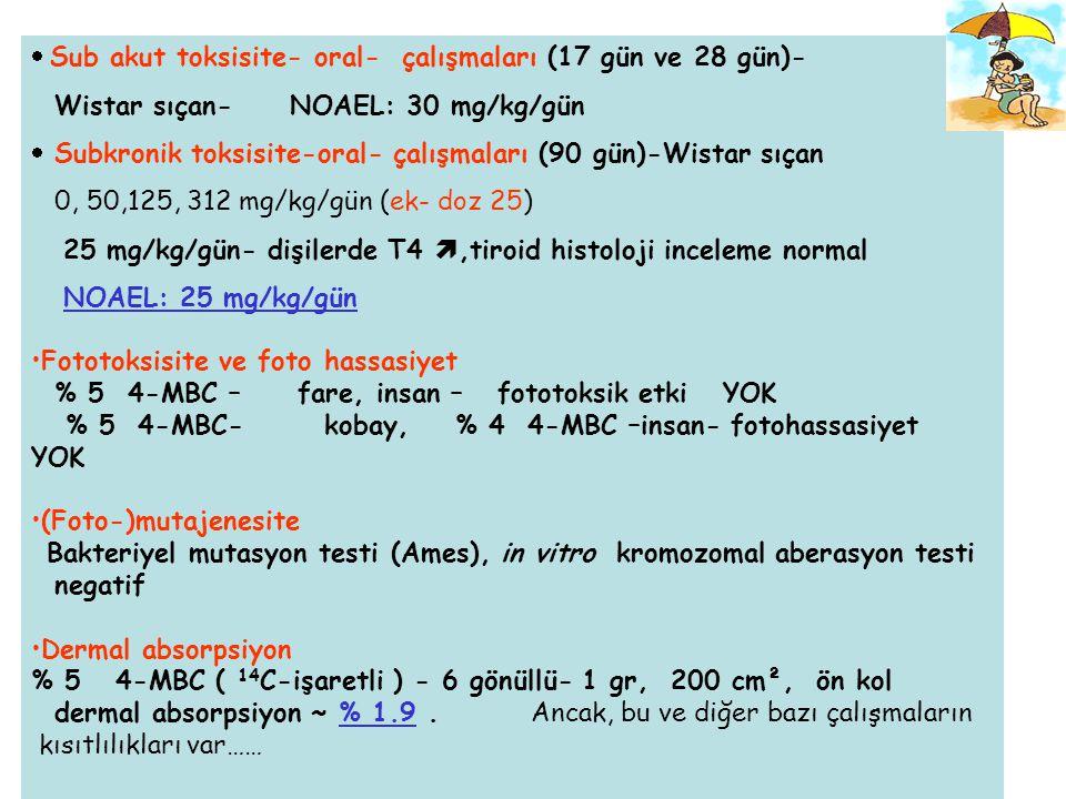 Teratojenik etki çalışmaları Sıçan, 0, 10, 30 and 100 mg/kg /gün –teratojenik bulgu – -1998-2001 yılları arasındaki değerlendirme- Bu verilere göre 4- MBC için MOS değeri .
