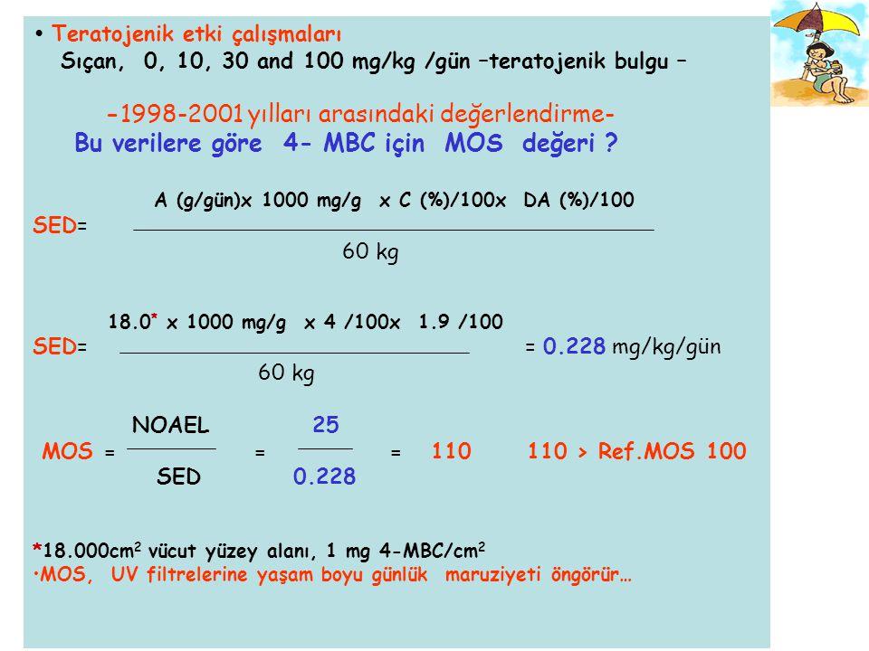 Güvenlik Değerlendirmesi işlemi dinamiktir… Yeni bilimsel verilere göre her kimyasal için yeniden değerlendirme yapılabilir… ÖRNEK  4-MBC