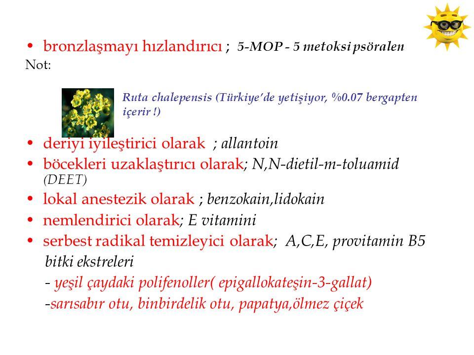 bronzlaşmayı hızlandırıcı ; 5-MOP - 5 metoksi psöralen Not: deriyi iyileştirici olarak ; allantoin böcekleri uzaklaştırıcı olarak ; N,N-dietil-m-toluamid (DEET) lokal anestezik olarak ; benzokain,lidokain nemlendirici olarak ; E vitamini serbest radikal temizleyici olarak ; A,C,E, provitamin B5 bitki ekstreleri - yeşil çaydaki polifenoller( epigallokateşin-3-gallat) -sarısabır otu, binbirdelik otu, papatya,ölmez çiçek Ruta chalepensis (Türkiye'de yetişiyor, %0.07 bergapten içerir !)