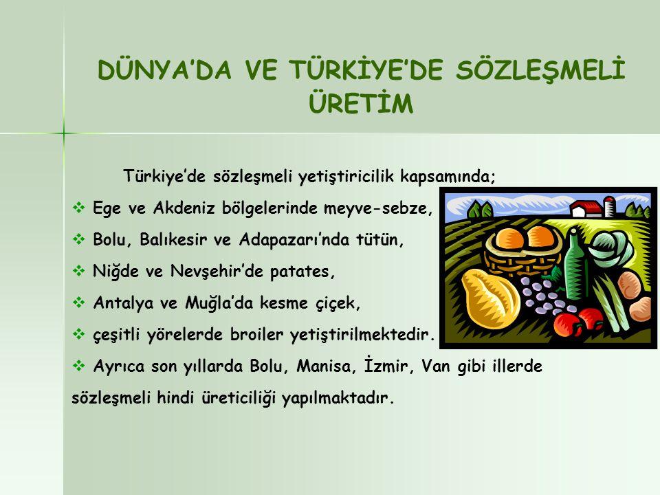 DÜNYA'DA VE TÜRKİYE'DE SÖZLEŞMELİ ÜRETİM Türkiye'de sözleşmeli yetiştiricilik kapsamında;  Ege ve Akdeniz bölgelerinde meyve-sebze,  Bolu, Balıkesir