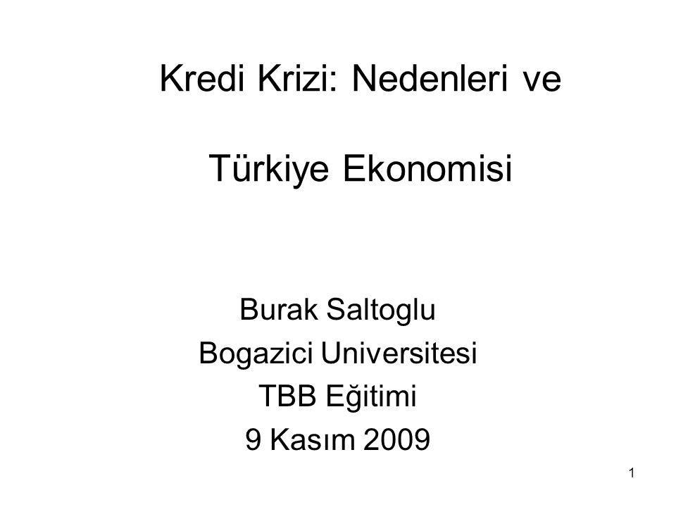 1 Kredi Krizi: Nedenleri ve Türkiye Ekonomisi Burak Saltoglu Bogazici Universitesi TBB Eğitimi 9 Kasım 2009