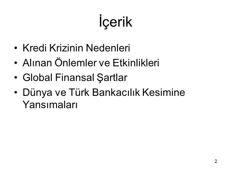 2 İçerik Kredi Krizinin Nedenleri Alınan Önlemler ve Etkinlikleri Global Finansal Şartlar Dünya ve Türk Bankacılık Kesimine Yansımaları