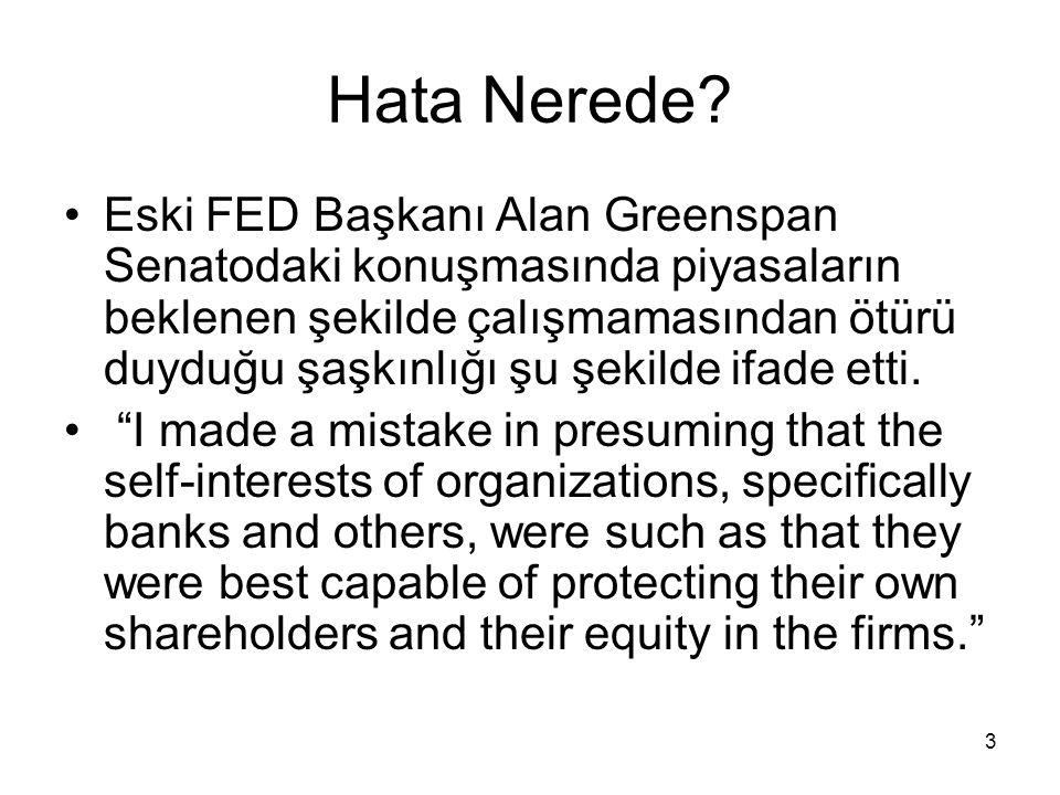 3 Hata Nerede? Eski FED Başkanı Alan Greenspan Senatodaki konuşmasında piyasaların beklenen şekilde çalışmamasından ötürü duyduğu şaşkınlığı şu şekild
