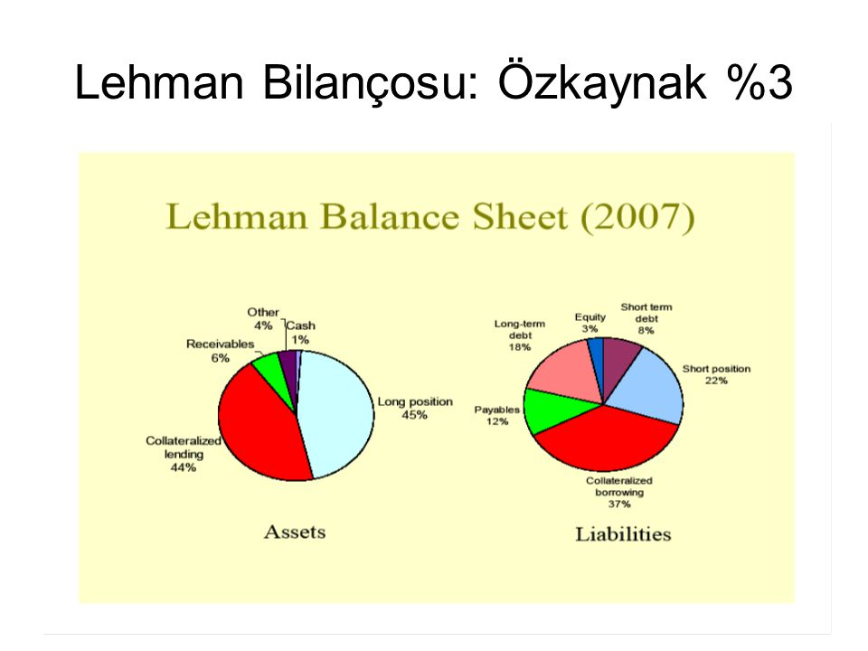 45 Lehman Bilançosu: Özkaynak %3