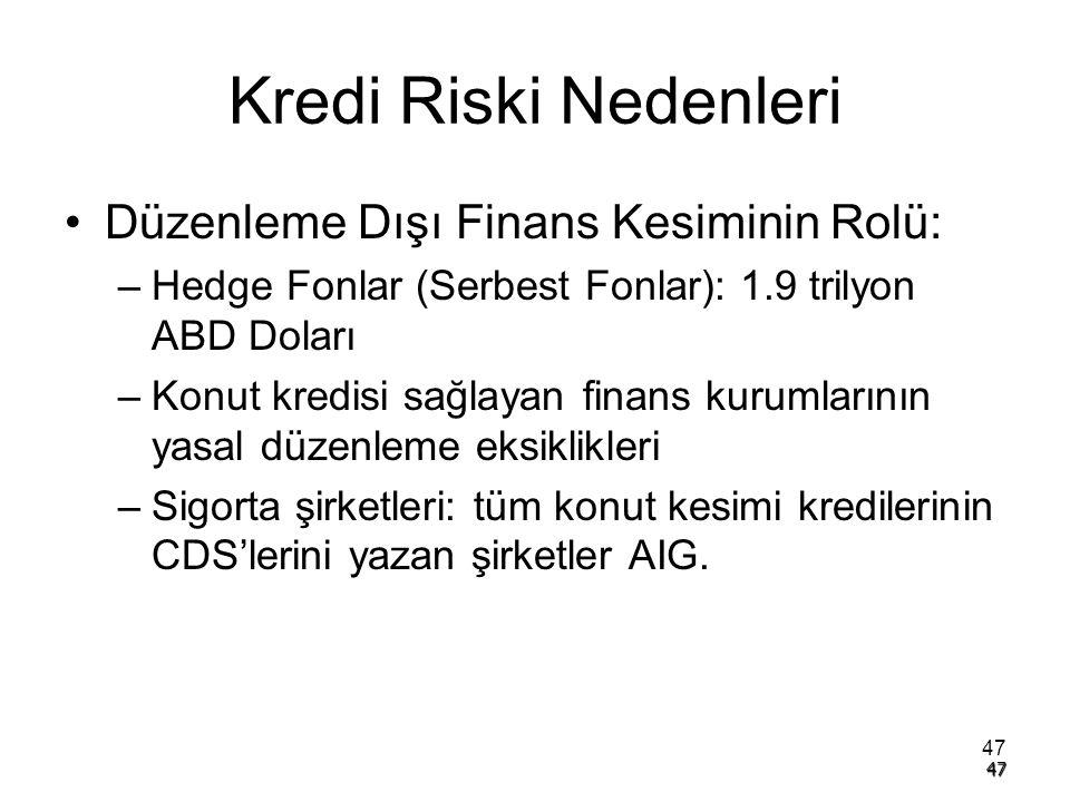 47 Kredi Riski Nedenleri Düzenleme Dışı Finans Kesiminin Rolü: –Hedge Fonlar (Serbest Fonlar): 1.9 trilyon ABD Doları –Konut kredisi sağlayan finans k