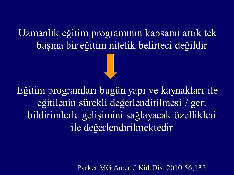 Uzmanlık eğitim programının kapsamı artık tek başına bir eğitim nitelik belirteci değildir Eğitim programları bugün yapı ve kaynakları ile eğitilenin sürekli değerlendirilmesi / geri bildirimlerle gelişimini sağlayacak özellikleri ile değerlendirilmektedir Parker MG Amer J Kid Dis 2010:56;132