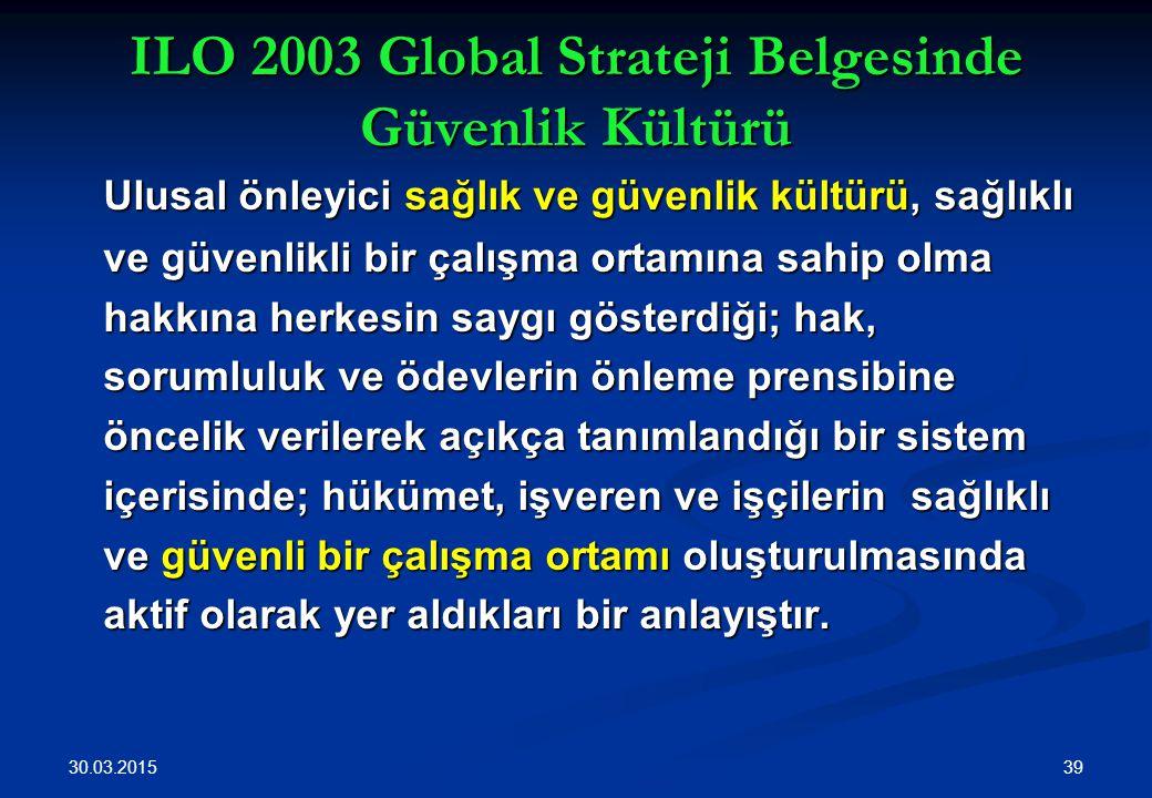 30.03.2015 39 ILO 2003 Global Strateji Belgesinde Güvenlik Kültürü Ulusal önleyici sağlık ve güvenlik kültürü, sağlıklı ve güvenlikli bir çalışma orta