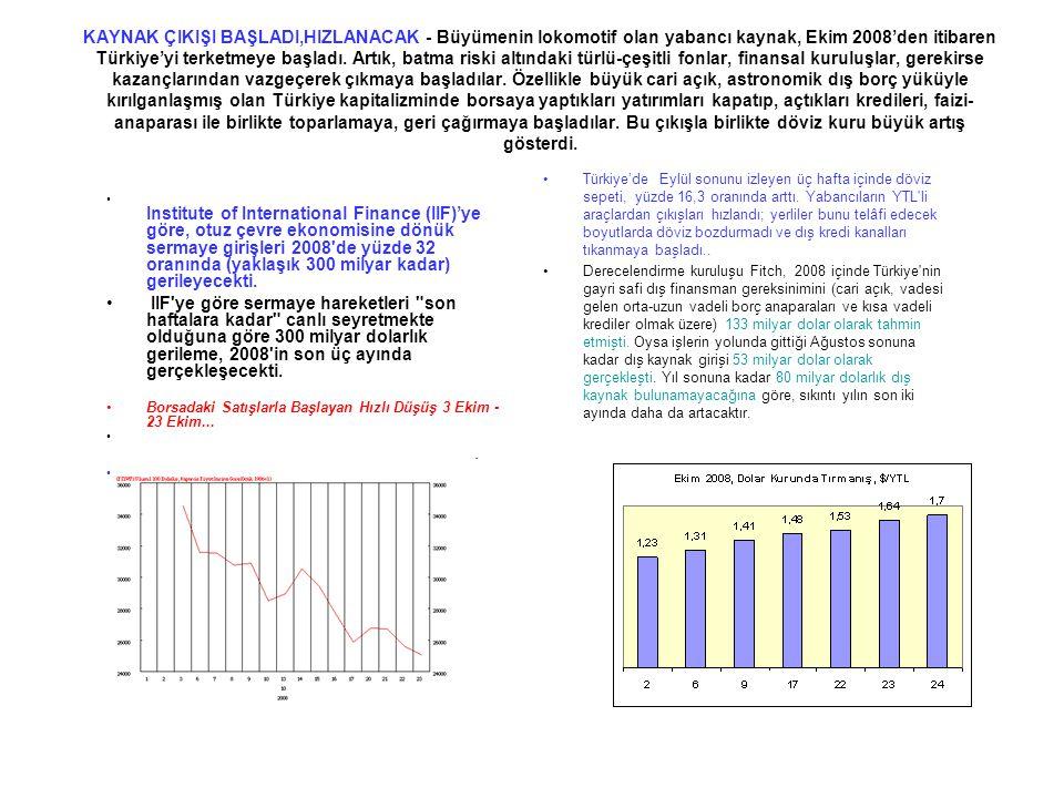 KAYNAK ÇIKIŞI BAŞLADI,HIZLANACAK - Büyümenin lokomotif olan yabancı kaynak, Ekim 2008'den itibaren Türkiye'yi terketmeye başladı. Artık, batma riski a