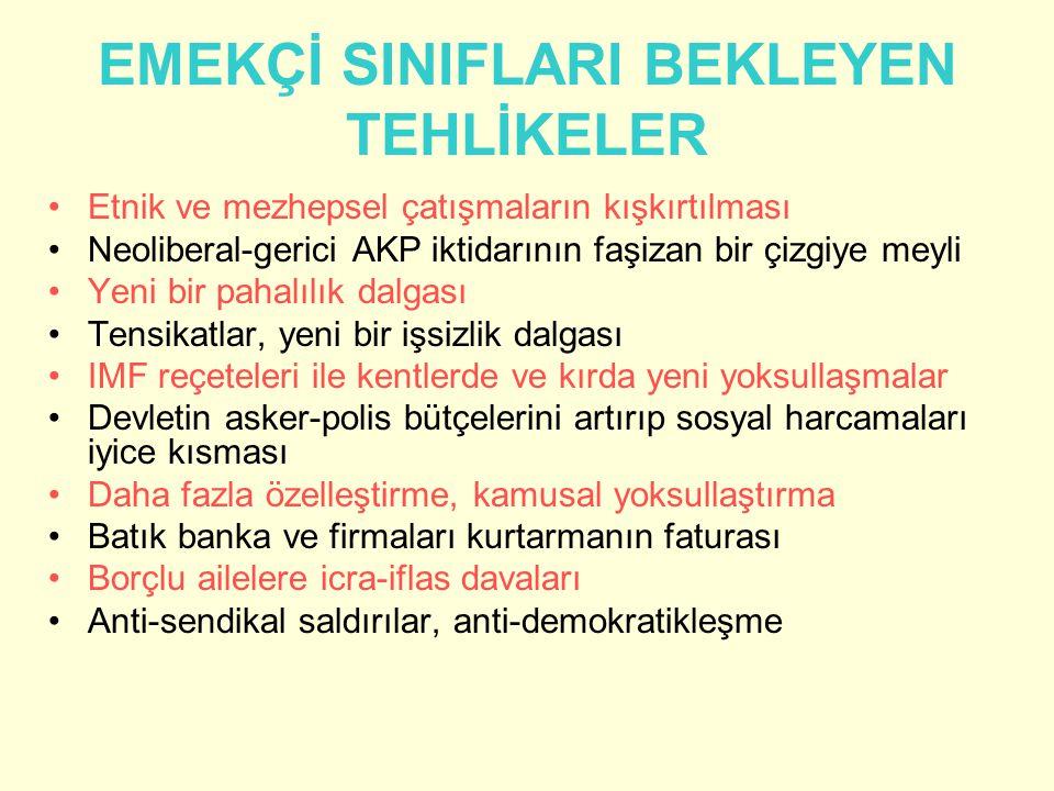 EMEKÇİ SINIFLARI BEKLEYEN TEHLİKELER Etnik ve mezhepsel çatışmaların kışkırtılması Neoliberal-gerici AKP iktidarının faşizan bir çizgiye meyli Yeni bi