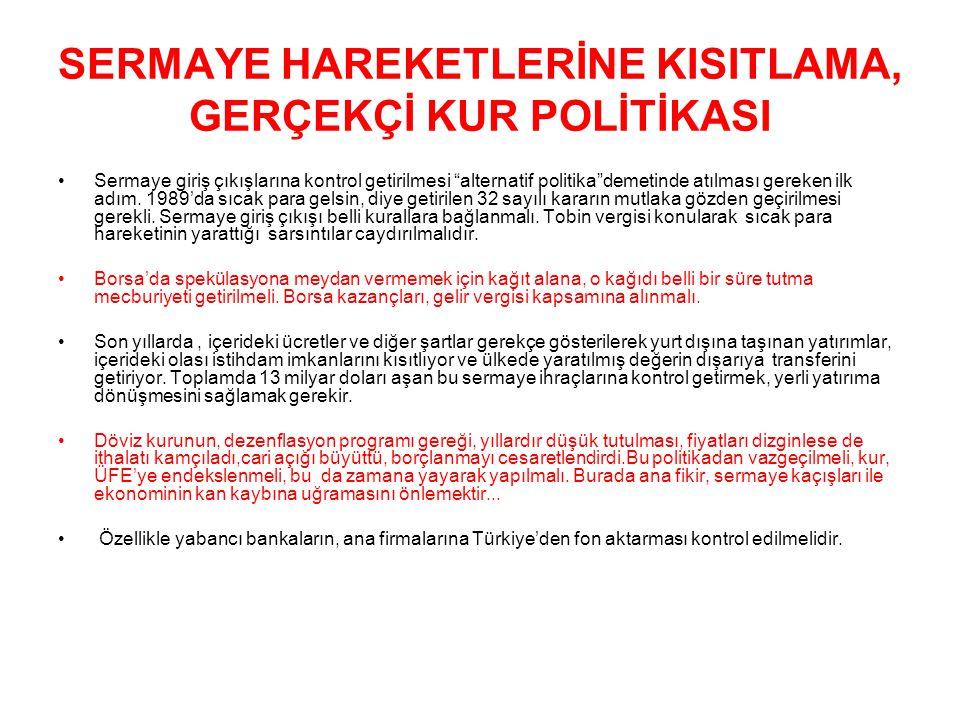"""SERMAYE HAREKETLERİNE KISITLAMA, GERÇEKÇİ KUR POLİTİKASI Sermaye giriş çıkışlarına kontrol getirilmesi """"alternatif politika""""demetinde atılması gereken"""