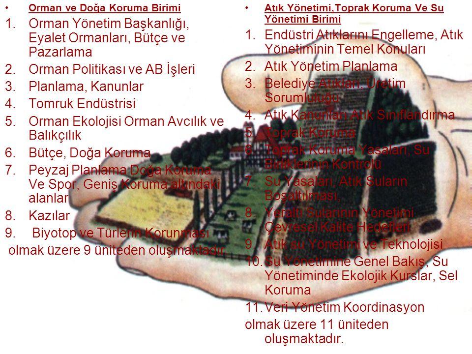 Orman ve Doğa Koruma Birimi 1.Orman Yönetim Başkanlığı, Eyalet Ormanları, Bütçe ve Pazarlama 2.Orman Politikası ve AB İşleri 3.Planlama, Kanunlar 4.To
