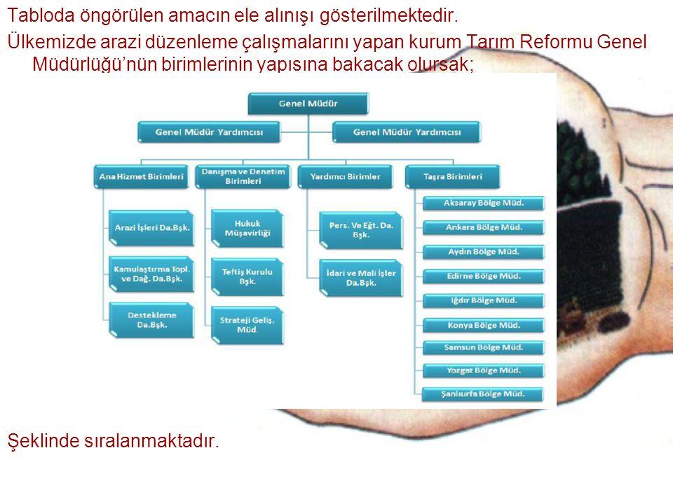 Tabloda öngörülen amacın ele alınışı gösterilmektedir. Ülkemizde arazi düzenleme çalışmalarını yapan kurum Tarım Reformu Genel Müdürlüğü'nün birimleri