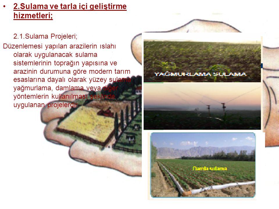 2.Sulama ve tarla içi geliştirme hizmetleri; 2.1.Sulama Projeleri; Düzenlemesi yapılan arazilerin ıslahı olarak uygulanacak sulama sistemlerinin topra