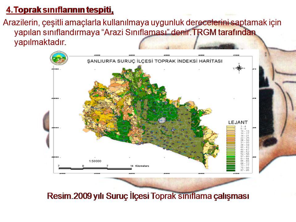 """4.Toprak sınıflarının tespiti, Arazilerin, çeşitli amaçlarla kullanılmaya uygunluk derecelerini saptamak için yapılan sınıflandırmaya """"Arazi Sınıflama"""