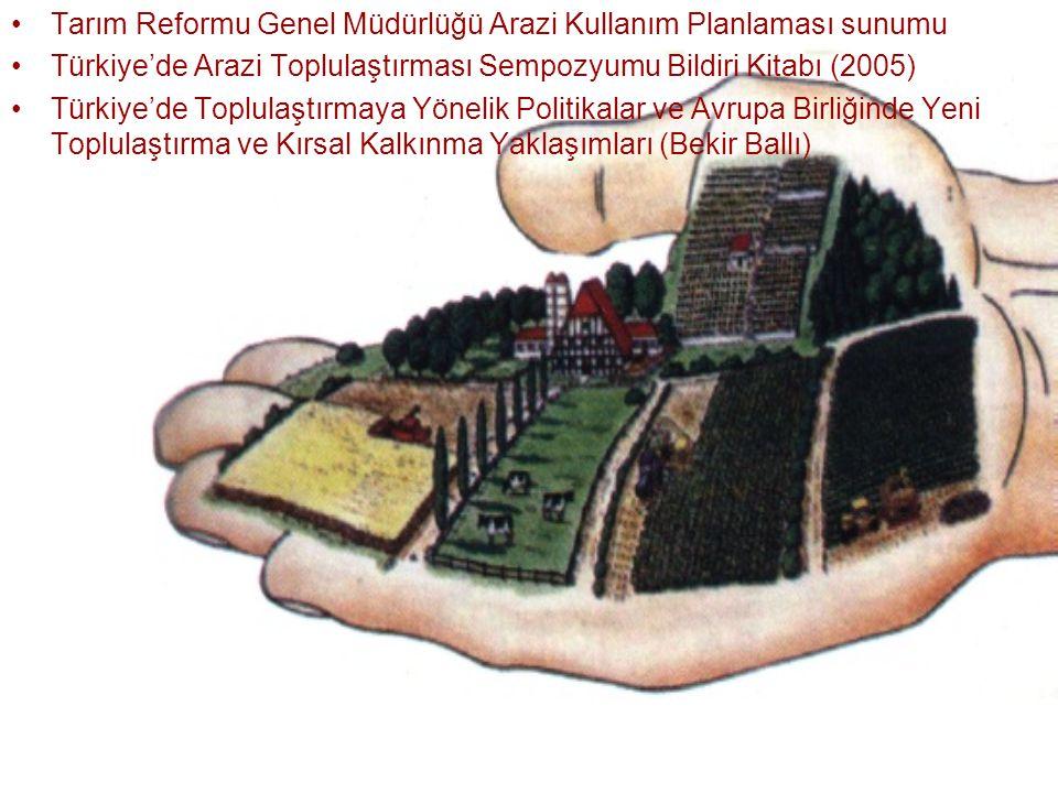 Tarım Reformu Genel Müdürlüğü Arazi Kullanım Planlaması sunumu Türkiye'de Arazi Toplulaştırması Sempozyumu Bildiri Kitabı (2005) Türkiye'de Toplulaştı