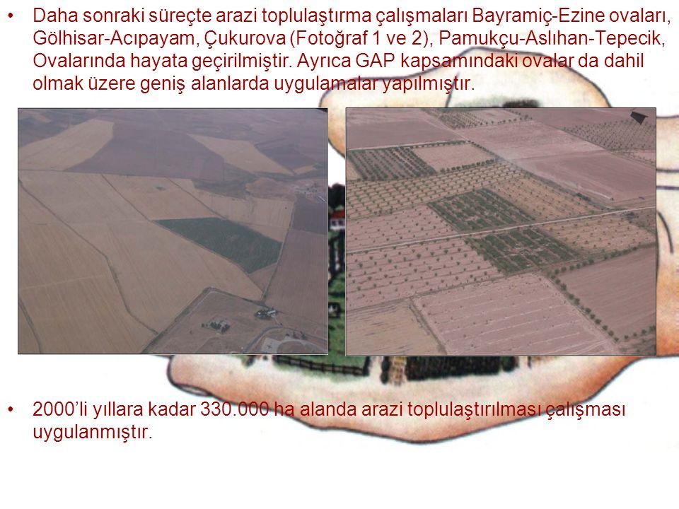 Daha sonraki süreçte arazi toplulaştırma çalışmaları Bayramiç-Ezine ovaları, Gölhisar-Acıpayam, Çukurova (Fotoğraf 1 ve 2), Pamukçu-Aslıhan-Tepecik, O