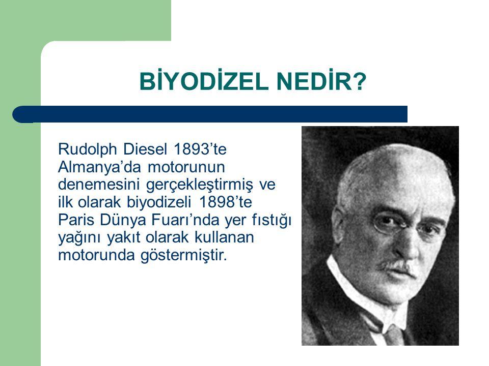 BİYODİZEL NEDİR? Rudolph Diesel 1893'te Almanya'da motorunun denemesini gerçekleştirmiş ve ilk olarak biyodizeli 1898'te Paris Dünya Fuarı'nda yer fıs
