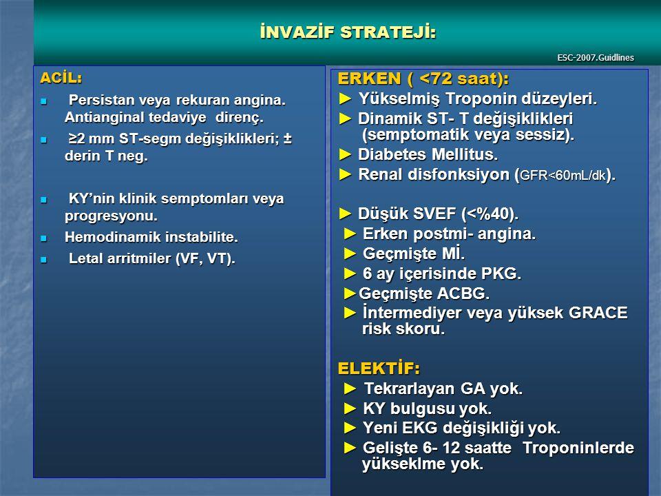 İNVAZİF STRATEJİ: ESC-2007.Guidlines ACİL: Persistan veya rekuran angina.