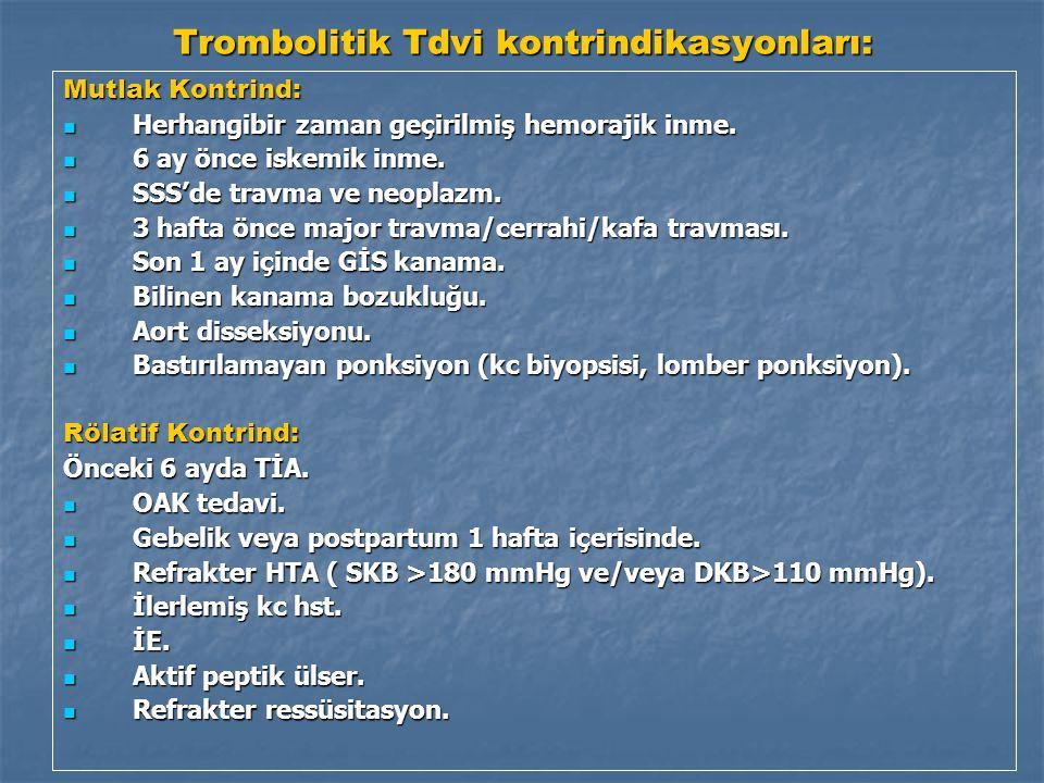 Trombolitik Tdvi kontrindikasyonları: Mutlak Kontrind: Herhangibir zaman geçirilmiş hemorajik inme.