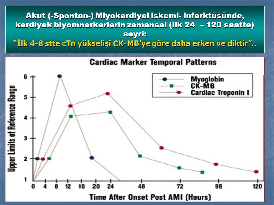 Akut (-Spontan-) Miyokardiyal iskemi- infarktüsünde, kardiyak biyomnarkerlerin zamansal (ilk 24 – 120 saatte) seyri: İlk 4-8 stte cTn yükselişi CK-MB'ye göre daha erken ve diktir ..