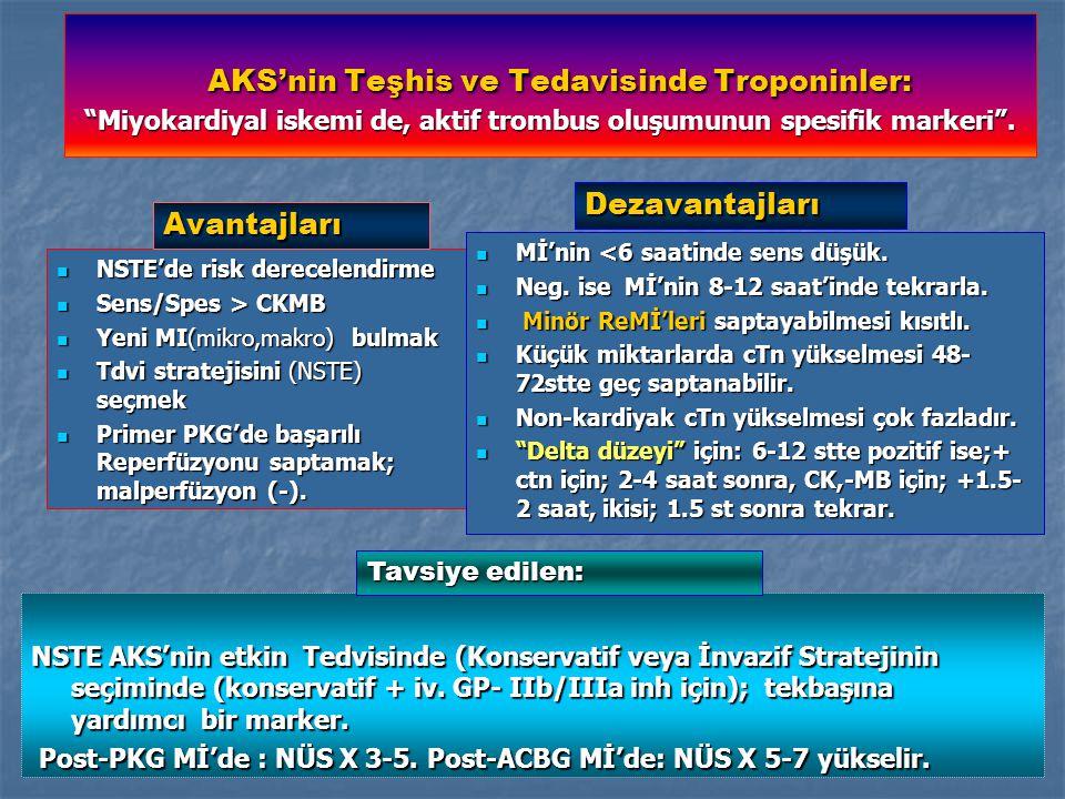 AKS'nin Teşhis ve Tedavisinde Troponinler: Miyokardiyal iskemi de, aktif trombus oluşumunun spesifik markeri .