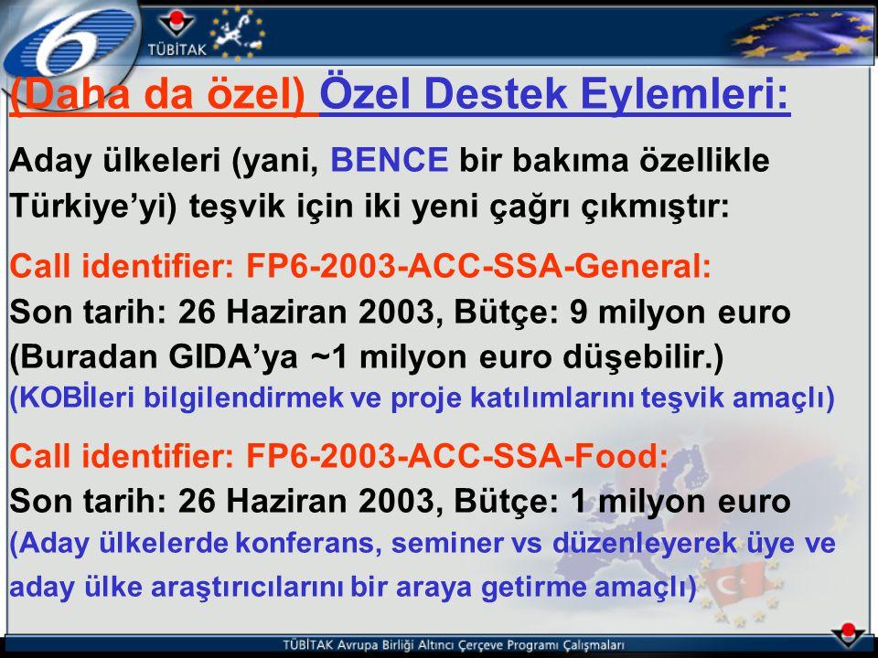 (Daha da özel) Özel Destek Eylemleri: Aday ülkeleri (yani, BENCE bir bakıma özellikle Türkiye'yi) teşvik için iki yeni çağrı çıkmıştır: Call identifie