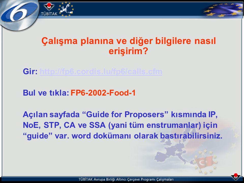 Çalışma planına ve diğer bilgilere nasıl erişirim? Gir: http://fp6.cordis.lu/fp6/calls.cfmhttp://fp6.cordis.lu/fp6/calls.cfm Bul ve tıkla: FP6-2002-Fo