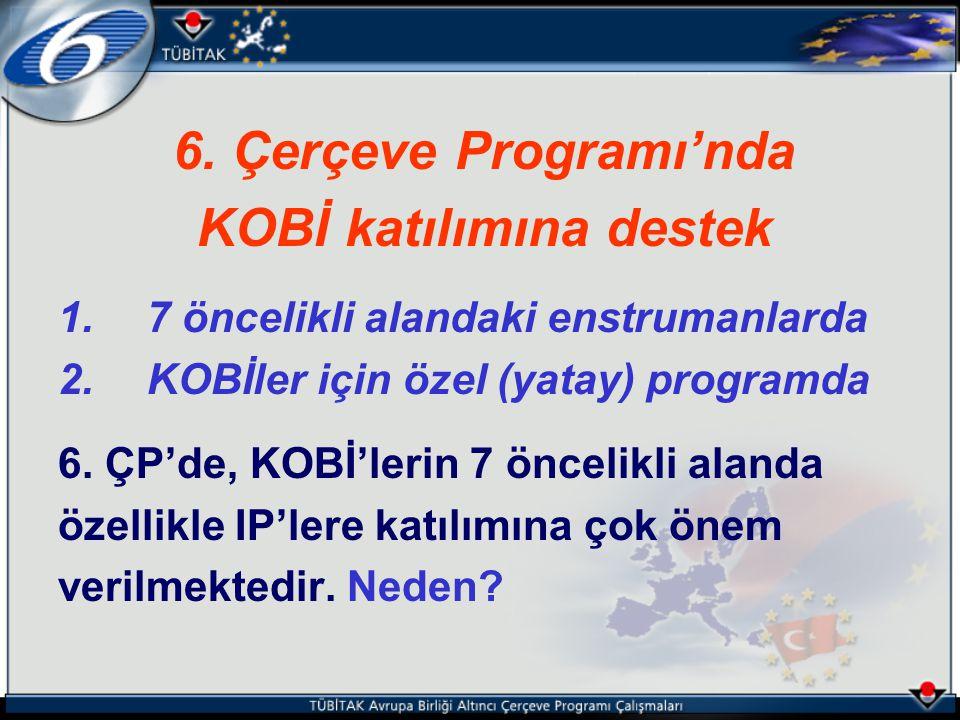 6. Çerçeve Programı'nda KOBİ katılımına destek 1. 7 öncelikli alandaki enstrumanlarda 2. KOBİler için özel (yatay) programda 6. ÇP'de, KOBİ'lerin 7 ön