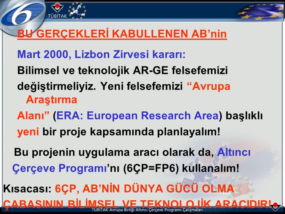 """BU GERÇEKLERİ KABULLENEN AB'nin Mart 2000, Lizbon Zirvesi kararı: Bilimsel ve teknolojik AR-GE felsefemizi değiştirmeliyiz. Yeni felsefemizi """"Avrupa A"""