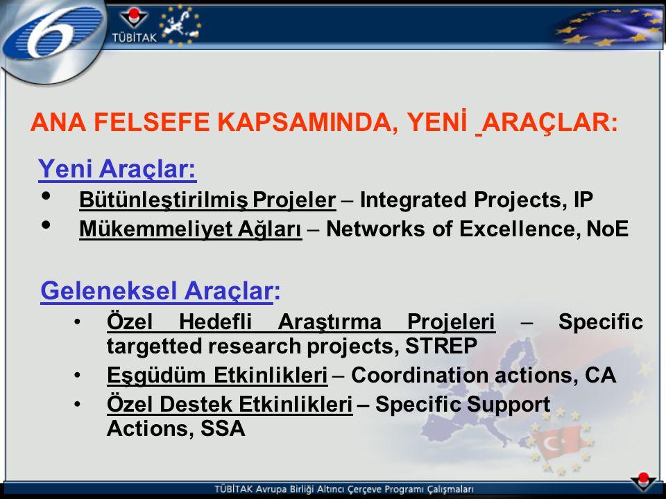 ANA FELSEFE KAPSAMINDA, YENİ ARAÇLAR: Yeni Araçlar: Bütünleştirilmiş Projeler – Integrated Projects, IP Mükemmeliyet Ağları – Networks of Excellence,
