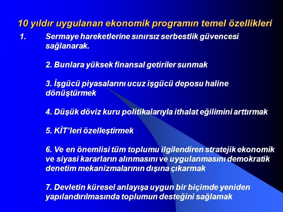 10 yıldır uygulanan ekonomik programın temel özellikleri 1.Sermaye hareketlerine sınırsız serbestlik güvencesi sağlanarak.