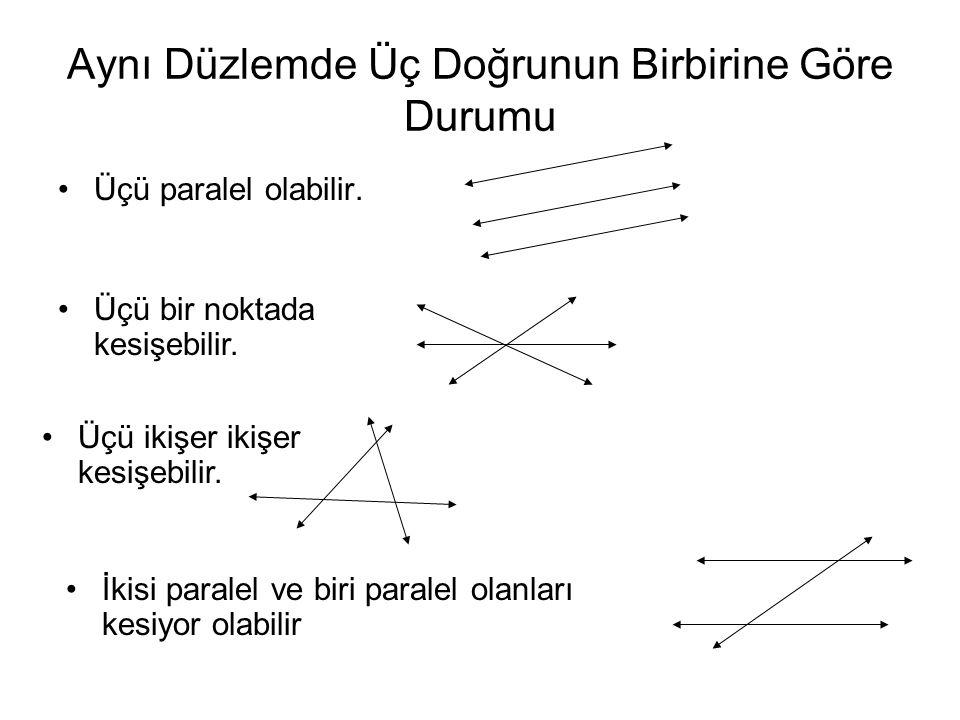 Aynı Düzlemde Üç Doğrunun Birbirine Göre Durumu Üçü paralel olabilir. Üçü bir noktada kesişebilir. Üçü ikişer ikişer kesişebilir. İkisi paralel ve bir