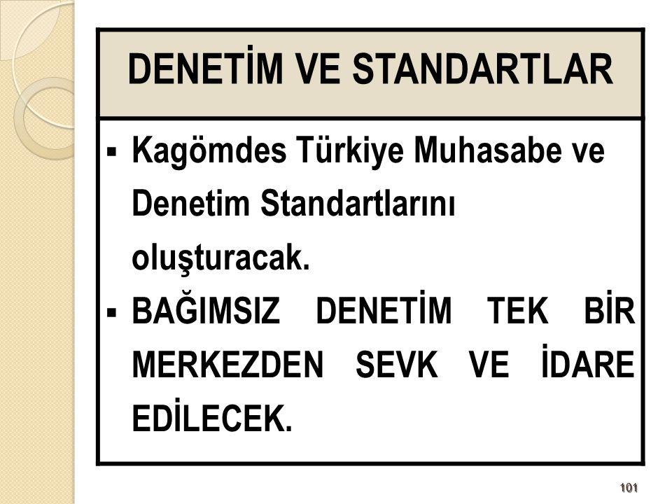 101101 DENETİM VE STANDARTLAR  Kagömdes Türkiye Muhasabe ve Denetim Standartlarını oluşturacak.  BAĞIMSIZ DENETİM TEK BİR MERKEZDEN SEVK VE İDARE ED