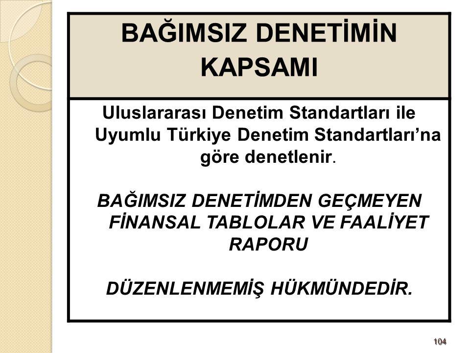 104104 BAĞIMSIZ DENETİMİN KAPSAMI Uluslararası Denetim Standartları ile Uyumlu Türkiye Denetim Standartları'na göre denetlenir. BAĞIMSIZ DENETİMDEN GE