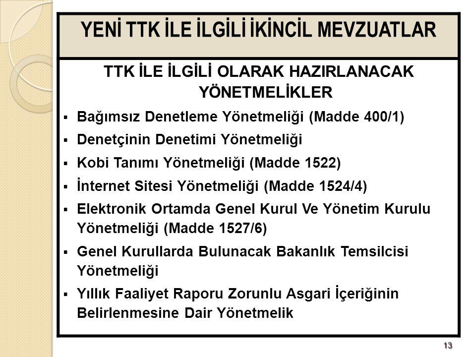 1313 YENİ TTK İLE İLGİLİ İKİNCİL MEVZUATLAR TTK İLE İLGİLİ OLARAK HAZIRLANACAK YÖNETMELİKLER  Bağımsız Denetleme Yönetmeliği (Madde 400/1)  Denetçin