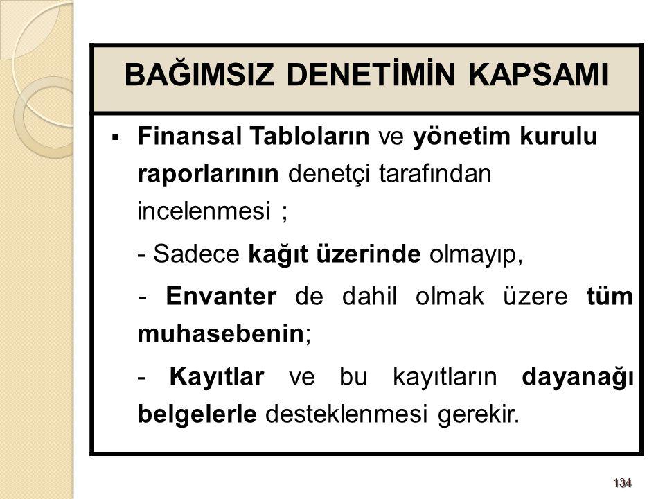 134134 BAĞIMSIZ DENETİMİN KAPSAMI  Finansal Tabloların ve yönetim kurulu raporlarının denetçi tarafından incelenmesi ; - Sadece kağıt üzerinde olmayı