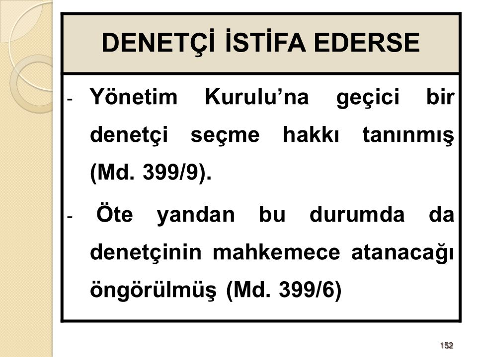 152152 DENETÇİ İSTİFA EDERSE - Yönetim Kurulu'na geçici bir denetçi seçme hakkı tanınmış (Md. 399/9). - Öte yandan bu durumda da denetçinin mahkemece