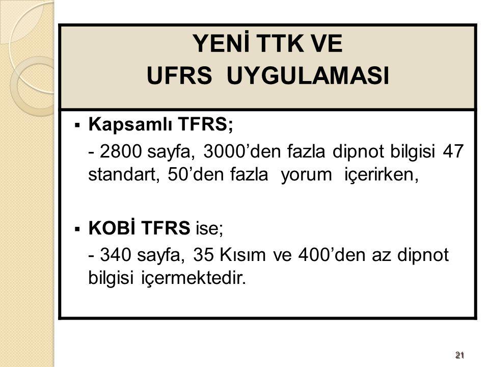 2121 YENİ TTK VE UFRS UYGULAMASI  Kapsamlı TFRS; - 2800 sayfa, 3000'den fazla dipnot bilgisi 47 standart, 50'den fazla yorum içerirken,  KOBİ TFRS i