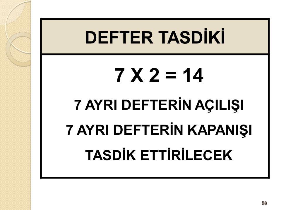 5858 DEFTER TASDİKİ 7 X 2 = 14 7 AYRI DEFTERİN AÇILIŞI 7 AYRI DEFTERİN KAPANIŞI TASDİK ETTİRİLECEK
