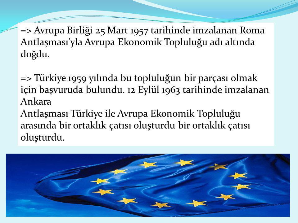 => Avrupa Birliği 25 Mart 1957 tarihinde imzalanan Roma Antlaşması'yla Avrupa Ekonomik Topluluğu adı altında doğdu. => Türkiye 1959 yılında bu toplulu