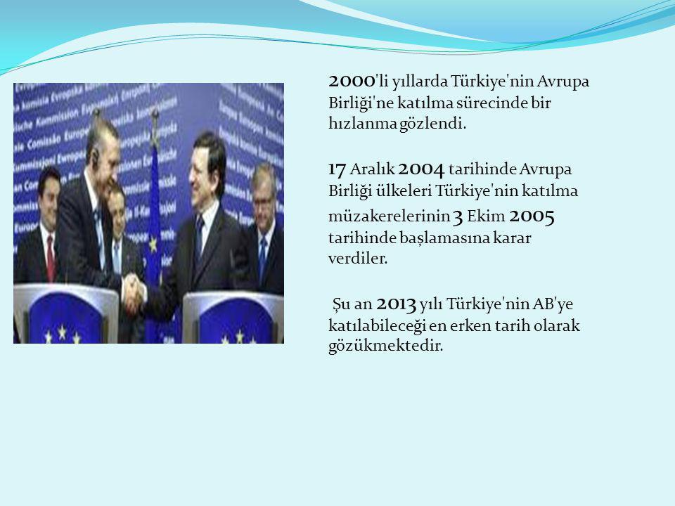 2000 'li yıllarda Türkiye'nin Avrupa Birliği'ne katılma sürecinde bir hızlanma gözlendi. 17 Aralık 2004 tarihinde Avrupa Birliği ülkeleri Türkiye'nin