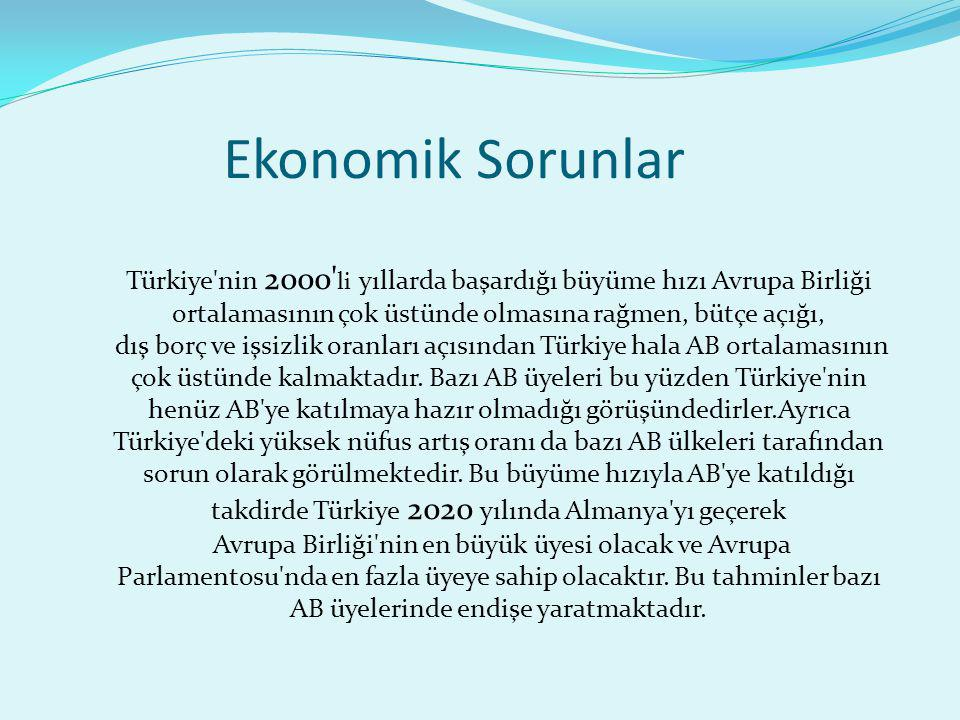 Ekonomik Sorunlar Türkiye'nin 2000' li yıllarda başardığı büyüme hızı Avrupa Birliği ortalamasının çok üstünde olmasına rağmen, bütçe açığı, dış borç