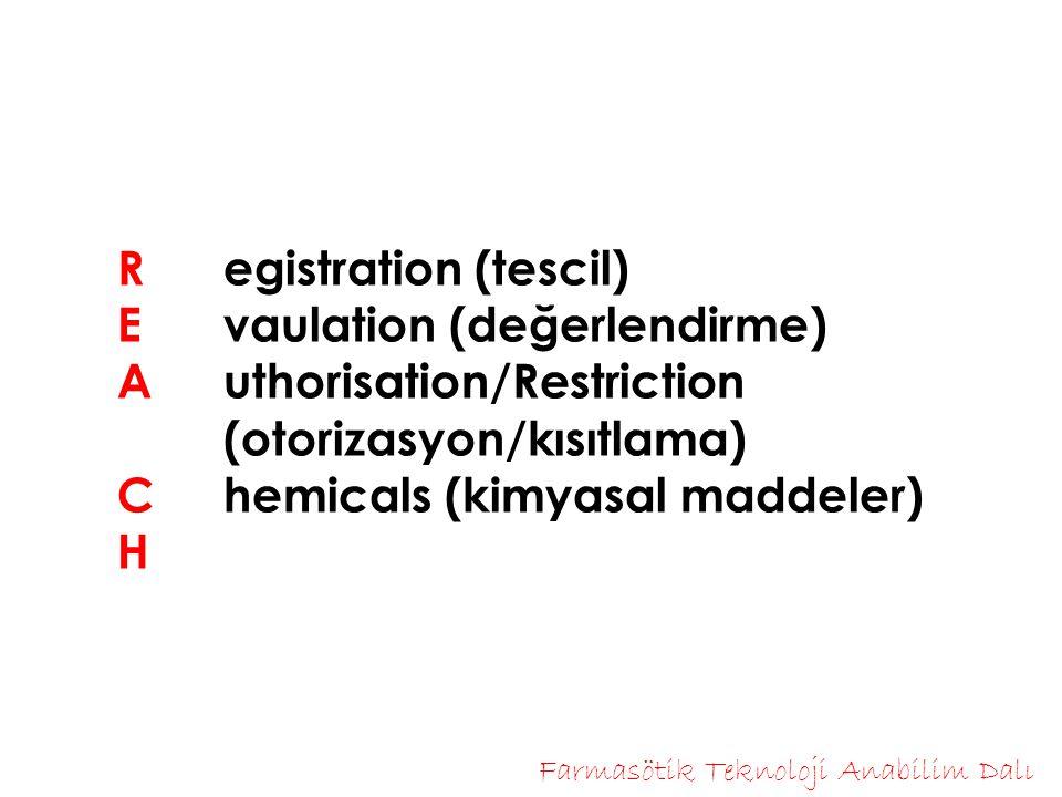 R egistration (tescil) E vaulation (değerlendirme) Authorisation/Restriction (otorizasyon/kısıtlama) C hemicals (kimyasal maddeler) H Farmasötik Teknoloji Anabilim Dalı