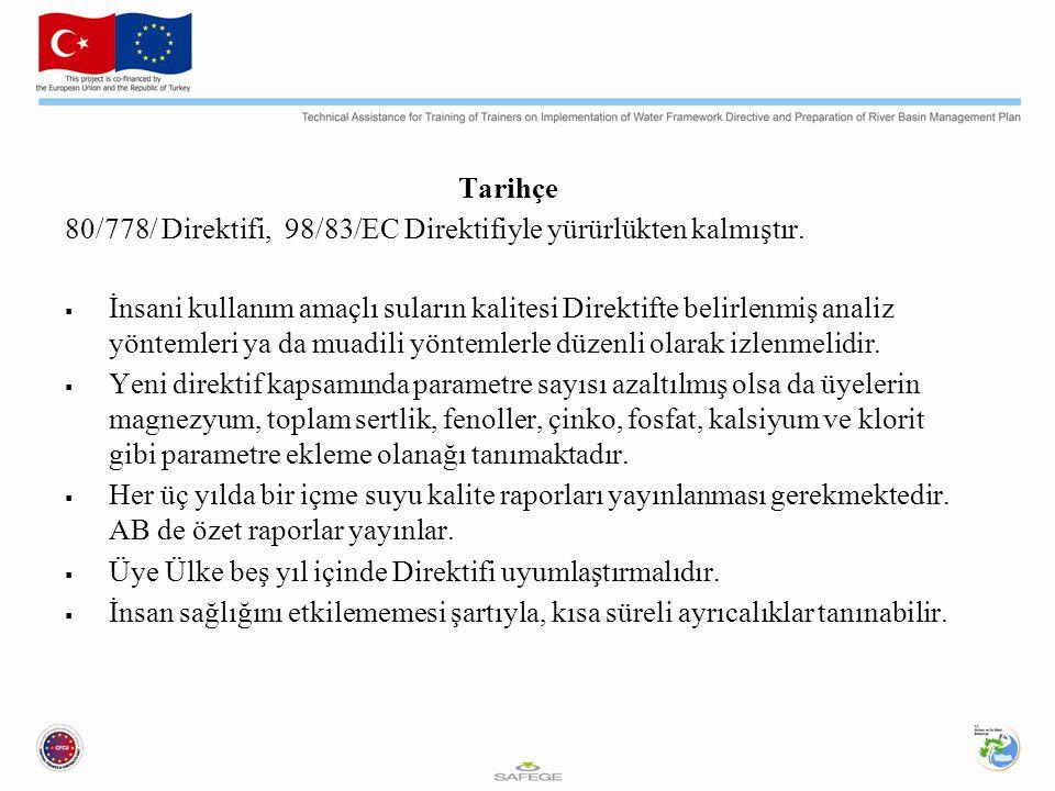 Tarihçe 80/778/ Direktifi, 98/83/EC Direktifiyle yürürlükten kalmıştır.
