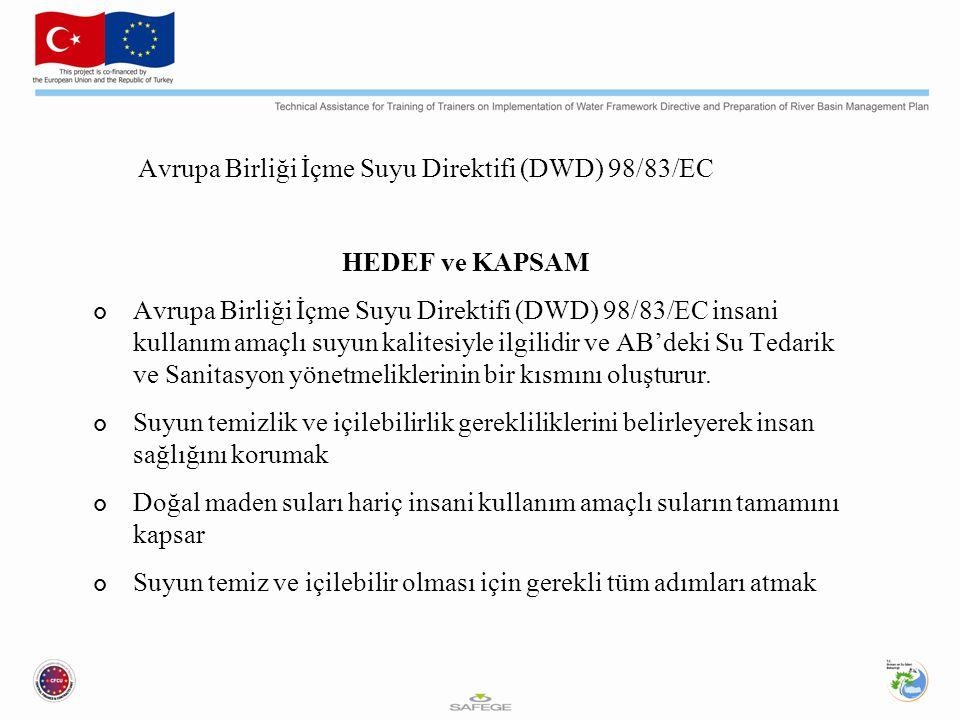 Avrupa Birliği İçme Suyu Direktifi (DWD) 98/83/EC HEDEF ve KAPSAM Avrupa Birliği İçme Suyu Direktifi (DWD) 98/83/EC insani kullanım amaçlı suyun kalitesiyle ilgilidir ve AB'deki Su Tedarik ve Sanitasyon yönetmeliklerinin bir kısmını oluşturur.