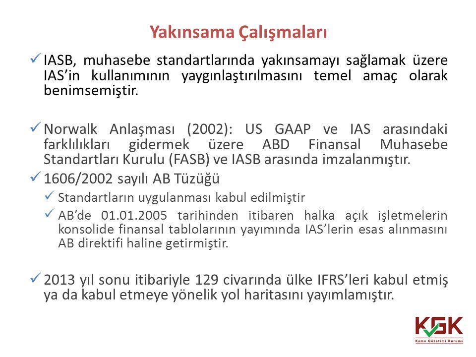 Yakınsama Çalışmaları 11 IASB, muhasebe standartlarında yakınsamayı sağlamak üzere IAS'in kullanımının yaygınlaştırılmasını temel amaç olarak benimsem