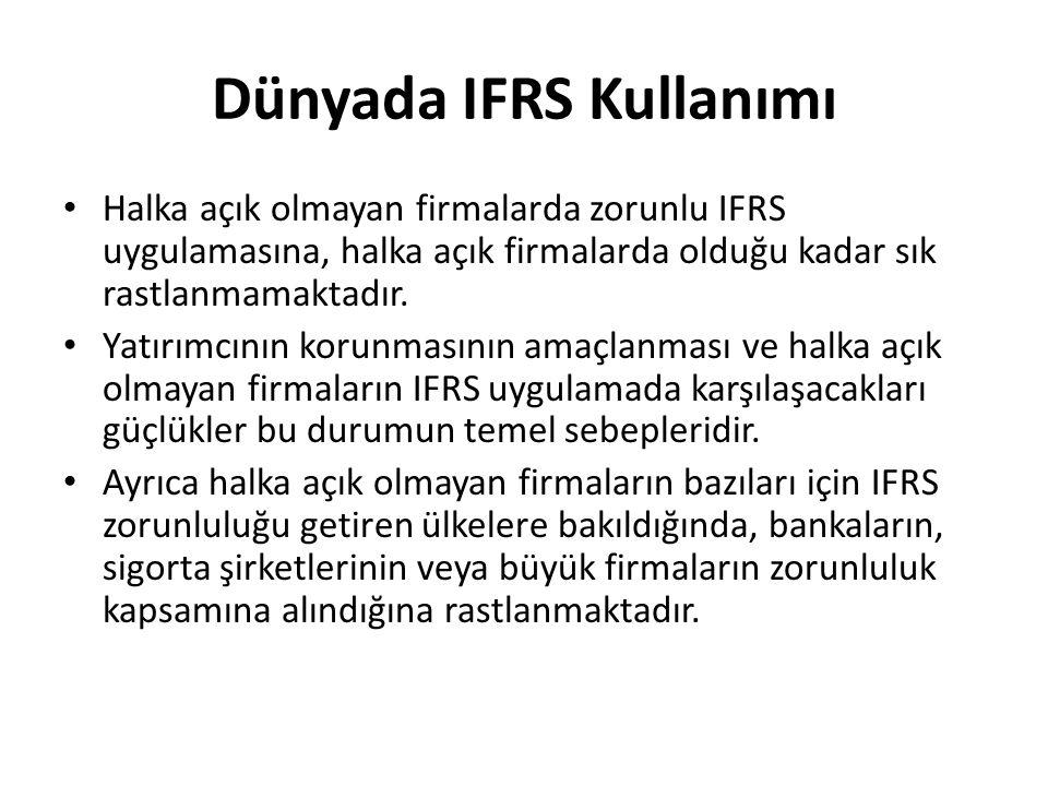 Dünyada IFRS Kullanımı Halka açık olmayan firmalarda zorunlu IFRS uygulamasına, halka açık firmalarda olduğu kadar sık rastlanmamaktadır. Yatırımcının
