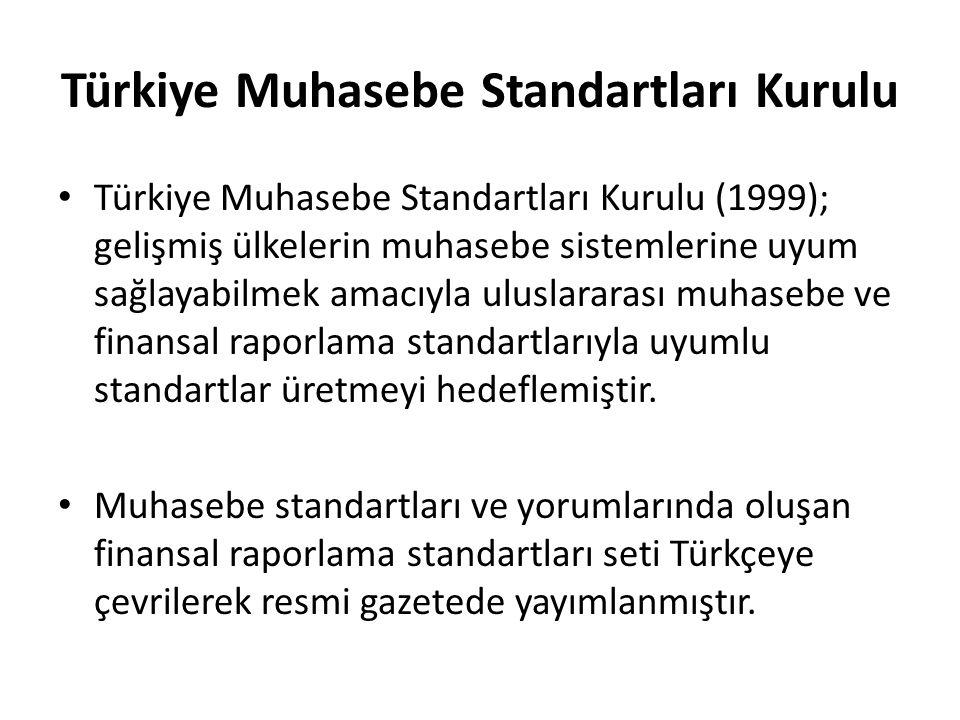 Türkiye Muhasebe Standartları Kurulu Türkiye Muhasebe Standartları Kurulu (1999); gelişmiş ülkelerin muhasebe sistemlerine uyum sağlayabilmek amacıyla