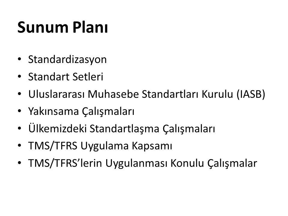 Sunum Planı Standardizasyon Standart Setleri Uluslararası Muhasebe Standartları Kurulu (IASB) Yakınsama Çalışmaları Ülkemizdeki Standartlaşma Çalışmal
