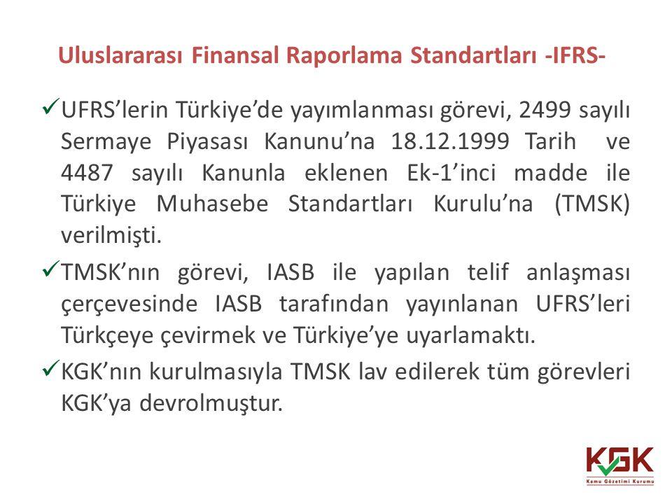 Uluslararası Finansal Raporlama Standartları -IFRS- 21 UFRS'lerin Türkiye'de yayımlanması görevi, 2499 sayılı Sermaye Piyasası Kanunu'na 18.12.1999 Ta